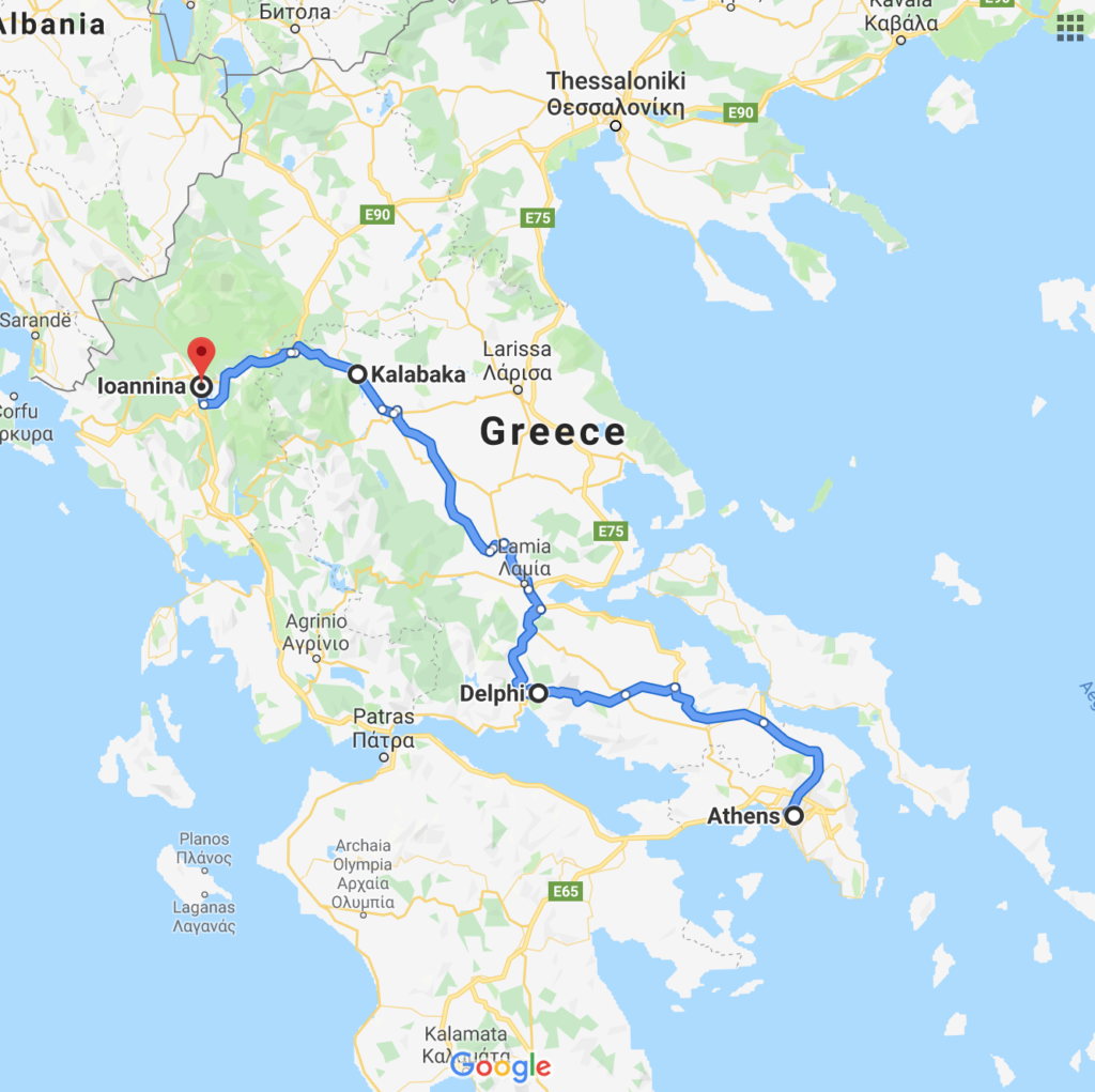 A map view of my trip in Greece