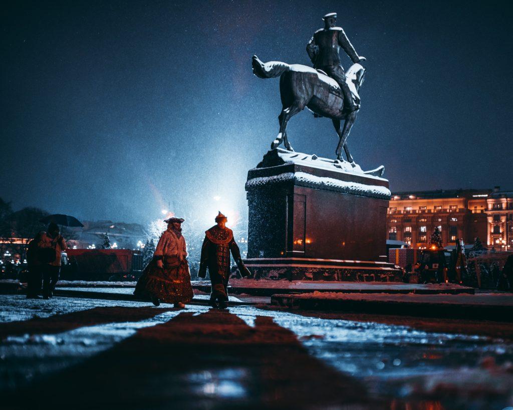 Russian square in the winter