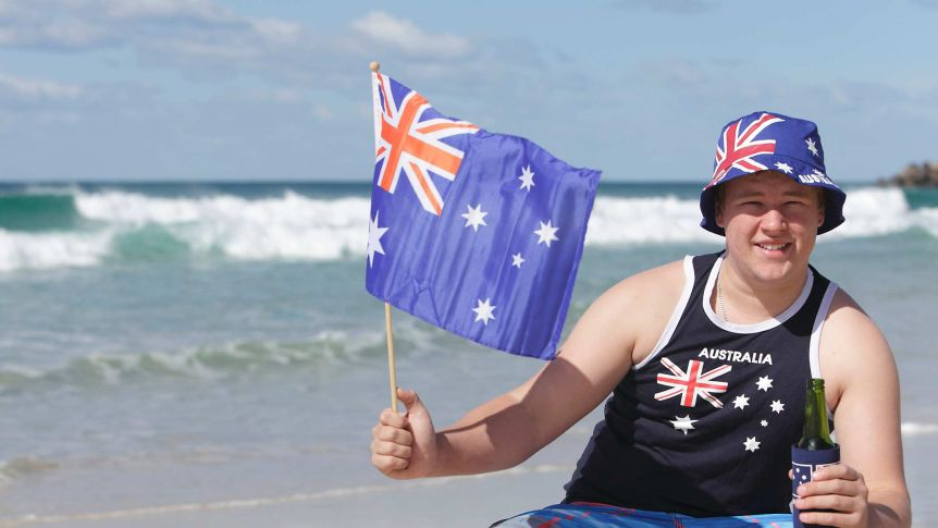Australian man with flags