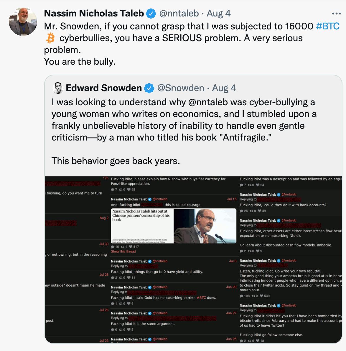 Taleb Snowden Twitter fight